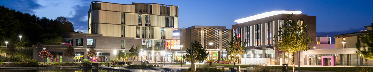 A night time photograph of Southwater Square